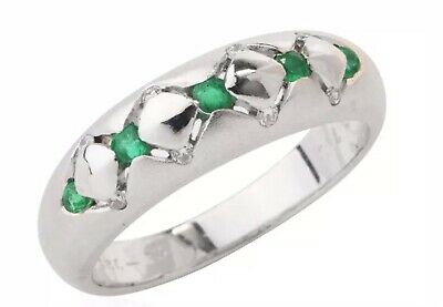 $350 • Buy Modern GYPSY RING Stackable Diamond Emerald 18K White Gold  X  Band Ring 5.4gms