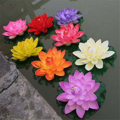 18cm Artificial Lotus Floating Water Lily Flower Fish Tank Aquatic Floral Plant • 3.26£