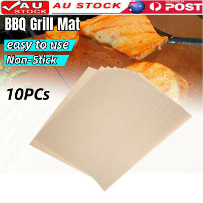 AU21.59 • Buy 10 BBQ Grill Mat Reusable Bake Sheet Resistant Teflon Meat Barbecue Non-Stick AU