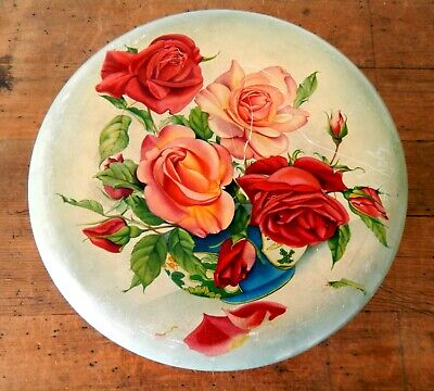 Vintage 1950s Floral Tin Shabby Chic Round Cake Biscuits Sweets • 16.99£