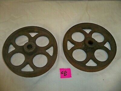 $59 • Buy Lot Of 2 ANTIQUE VINTAGE INDUSTRIAL FACTORY CART CAST IRON WHEEL CASTERS