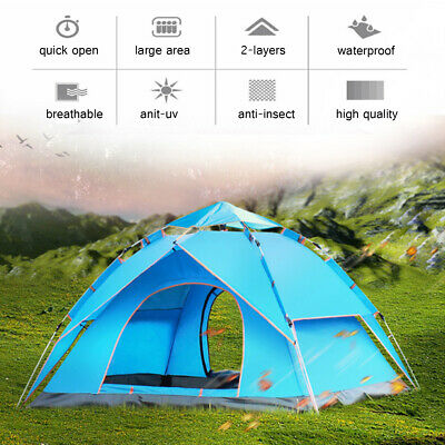 AU94.51 • Buy 🔥Automatic 3-4 Man Person Family Tent Camping Anti-UV Waterproof Shelter  √