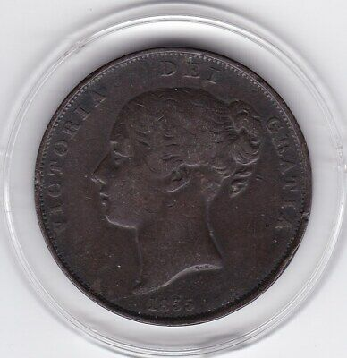 $1.04 • Buy 1855  Queen  Victoria  Large  Penny  Copper  Coin