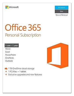 AU119.47 • Buy Microsoft Office 365 Personal 32/64 Bit 1 Year 1 Device Download (No CD)