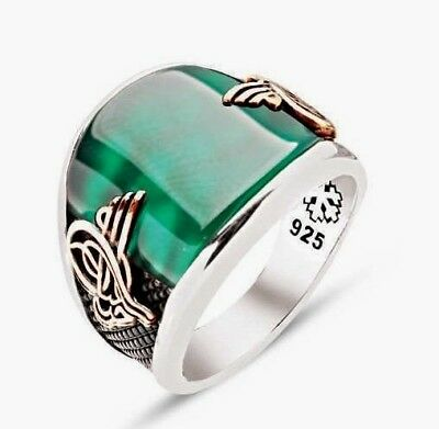 £48.98 • Buy 925 Sterling Silver Mens Ring, Ottoman Tugre, Jade Stone