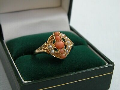 Rare 1871 Victorian 18ct Yellow Gold Coral Seed Pearl Ring - Size R 1/2 - A/f   • 299.99£
