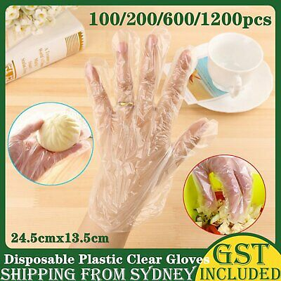 AU7.99 • Buy UP 1200 Pcs Disposable Plastic Gloves Food Handling Disposable Transparent Glove
