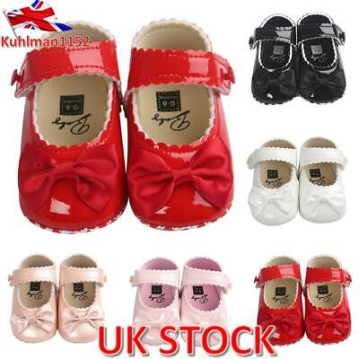 Newborn Infant Toddler Kids Baby Girls Bow Party Dress Princess Shoes PU Leather • 4.69£