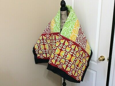 """$19.99 • Buy  African Cotton Beach Wrap Kanga Leso Size 42x62"""" Red White Yellow Lime Green"""