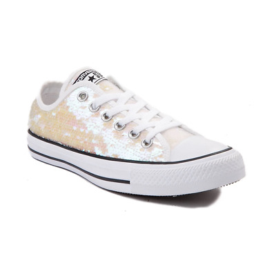 Brand New Women's White/pink Sequin Converse Uk 3 And Uk 8 • 25£