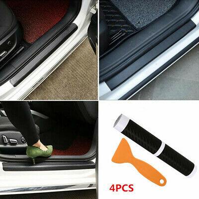 $13.49 • Buy 4X Carbon Fiber Car Stickers Door Sill Protector Scuff Plate Parts Accessories