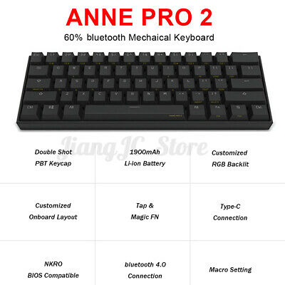 AU122.59 • Buy Anne Pro 2 Gateron Switch NKRO Bluetooth 4.0 RGB Mechanical Gaming Keyboard AU