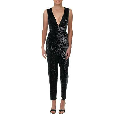$26.99 • Buy Aidan By Aidan Mattox Womens Black Sequined Tuxedo Jumpsuit 2 BHFO 1579