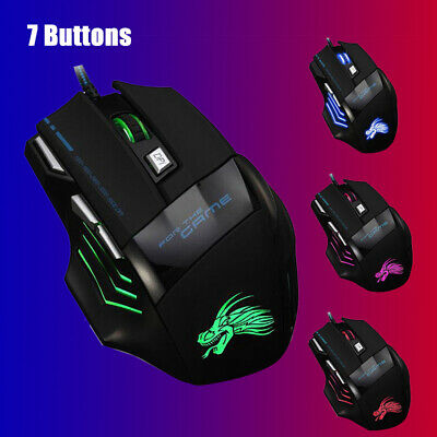 AU12.89 • Buy New 5500DPI LED Optical USB Wired Gaming Mouse 7 Buttons Computer Mice AU