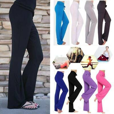 AU27.59 • Buy Women Bootcut Flared Yoga Pants Trousers Solid Bootleg Loose Workout Fitness Gym