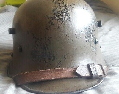 WW1 M17 Austrian Trench Helmet. 100% Original Fully Marked Remains Of Decal • 230£