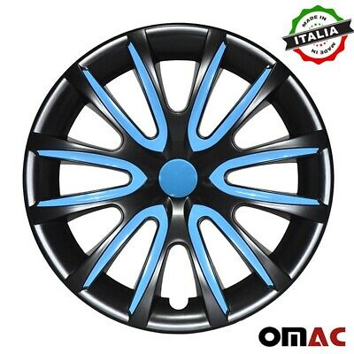AU69.43 • Buy 14  Inch Hubcaps Wheel Rim Cover Glossy Black With Blue Insert 4pcs Set