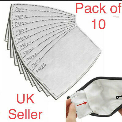 £3.49 • Buy 10xUK Face Cover PM2.5 Activated Carbon Filter Replace Breath Insert Mask Filter