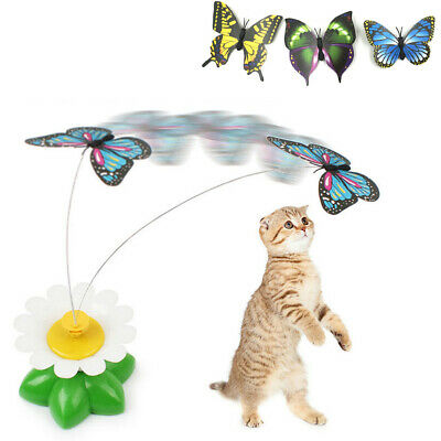$6.91 • Buy Cat Dog Toy Electric Rotating Butterfly Play Seat Scratch Teaser Steel Wire