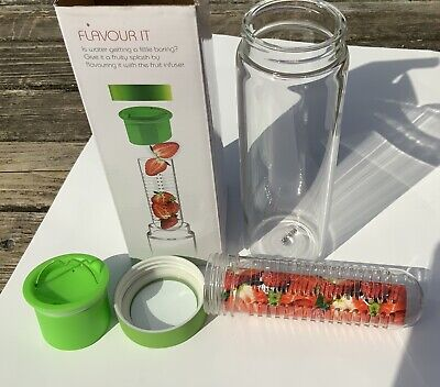 Asobu Flavor It Glass Water Bottle 16oz W/ Fruit Infuser Smoke Adnart Green New • 10.67£