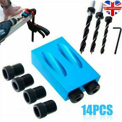 14pcs 15° Guide Angle Drill Bit Locator Oblique Hole Positioner Woodworking UK • 8.79£