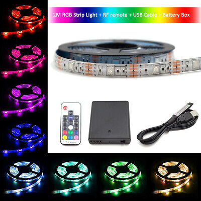 $12.99 • Buy 2M USB LED RGB & Battery Power Light Strip Wireless Multi-Color TV Backlight