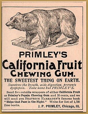 $ CDN17.36 • Buy 1894 Primley California Fruit Chewing Gum Beatrice Harradens Grizzly Bear Ad