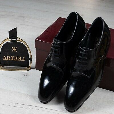 $ CDN400.89 • Buy NWB $2600 ARTIOLI Patent Leather  Shoes Black 6UK/7US/40EU Made In Italy G Width