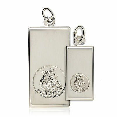 Sterling Silver St Christopher Ingot Dog Tag Oblong Pendant Free Engraving Boxed • 21.99£