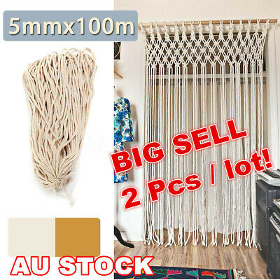 AU21.99 • Buy 2PC 5mm Macrame Rope Natural Cotton Beige Twisted Cord Artisans Hand Craft 100M