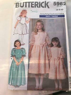 Butterick Sewing Pattern 5962 Girl's Bridesmaid Or Party Dress Age 4-5-6 1980's • 3£