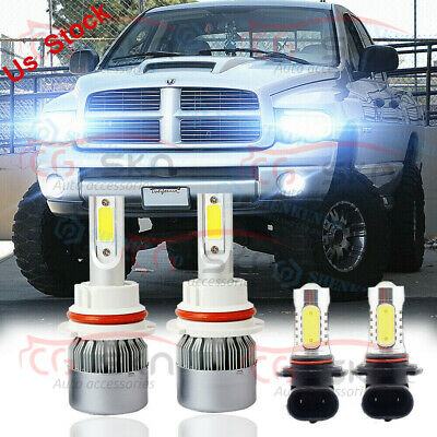 $24.63 • Buy For 2003 2004 05 Dodge Ram 1500 2500 3500 4X 6000K LED Headlight+Fog Light Bulbs