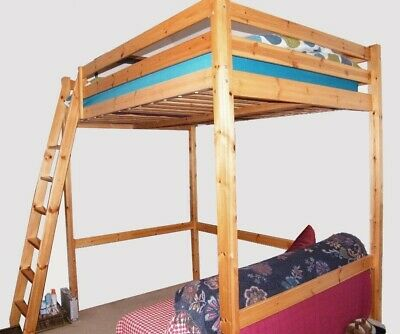 Pine Double High Sleeper Bed (loft Bed) Complete With Fittings • 8£