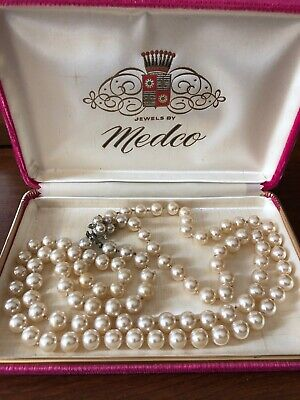 $9.99 • Buy Vintage Quality Double Strand Faux Pearl Necklace 18  Original MEDCO Velvet Box