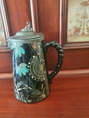 Victorian Jackfield Black & Grey Pottery Water Jug/Pitcher With Pewter Lid,1889 • 17.95£