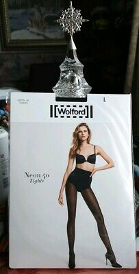 Brand New Wolford Black Neon 40 Glossy Tights Large  • 30£