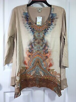 $17.99 • Buy Live And Let Live BoHo Tunic Ultra Suede 3/4 Sleeve Beige SZ: PL Petite   414B