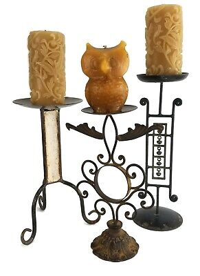 Set 3 Vintage Wrought Iron Metal Candle Holders 14  Rustic Scroll Asian Welded • 31.41£