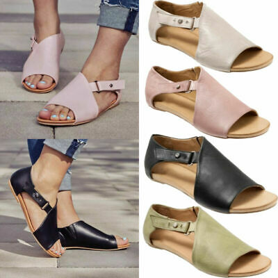 £16.05 • Buy Womens Ladies Peep Toe Buckle Flat Sandals Summer Holiday Comfy Shoes Size 6 7 8