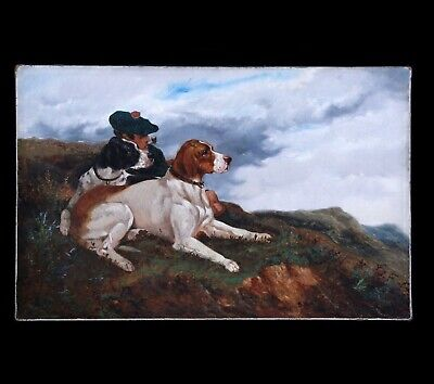 £958.30 • Buy Fine Original Antique Oil Painting On Canvas Hunting Dog(s) 19th