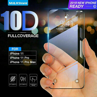 For IPhone 11 Pro Max 10D Full Cover Real Tempered Glass Screen Protector UK • 2.89£