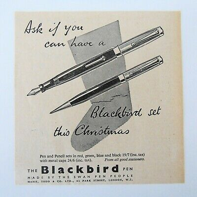 1949 The Blackbird Pen The Swan Pen People Mabie Todd & Co Park Sreet London • 3.99£