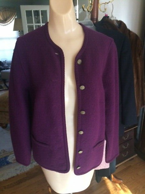 $24.99 • Buy Womens Purple Geiger Tyrol Boiled Wool Sweater Jacket Cardigan Austria Size 36