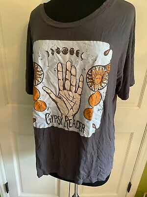 $39 • Buy Free People Spell & Gypsy Life Clothing Co Boho Graphic Hippie Tee Sz Xl Gray
