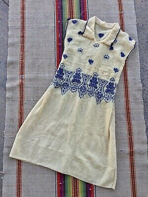 $165 • Buy Antique 1920s Yellow And Blue Embroidered Wool Flapper Dress 20s Vintage