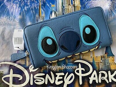 $ CDN75.47 • Buy Disney Parks Authentic Loungefly Stitch Zip Around Wallet Face Of Stitch 2 Sided