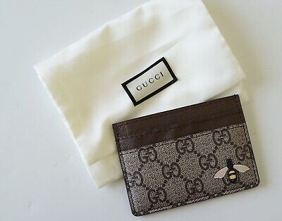 AU185 • Buy Gucci 'supreme Bee' Brown Leather Card Holder…vgc...