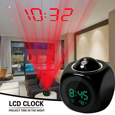 Projection LED Digital Alarm Clock Voice Talking Temperature Wall/Ceiling LCD UK • 7.98£