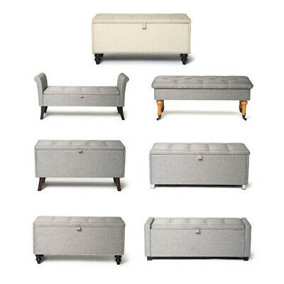 Ottoman Large Storage Chest Box Seat Storage Bench Bedroom Pouffe Toy Box Grey • 49.99£