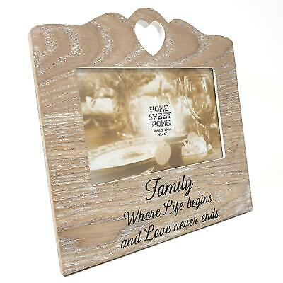 £8.75 • Buy Family Life Begins Love Never Ends Wooden Love Heart Photo Picture Frame 6  X 4